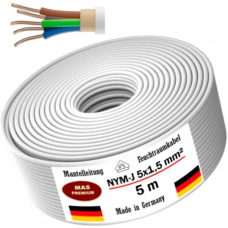 Power cable Electrical cable Sheathed cable NYM-J 5x1,5 mm² 100% copper 20, 50 or 100 meters MADE IN GERMAN