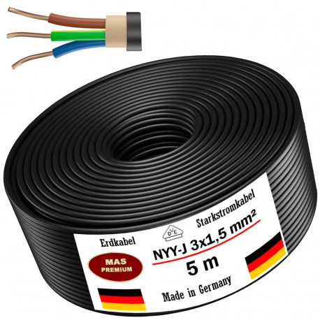 Power cable Electrical cable Sheathed cable NYM-J 3x1,5 mm² 100% copper 25 or 50 m, black, MADE IN GERMANY