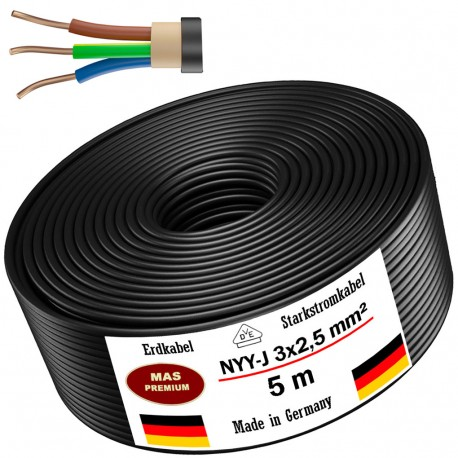 Ground cable Power cable Electrical cable Sheathed cable NYM-J 3x2.5 mm² 100% copper 25 or 50 m, black