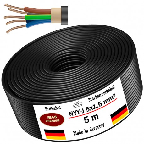 Ground cable Power cable Electrical cable Sheathed cable NYM-J 5x1.5 mm² 100% copper 25 or 50 m, black