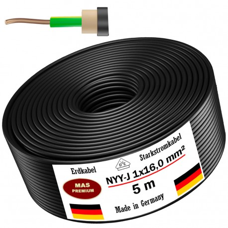 Ground cable Power cable 5, 10, 25, 50 or 100m NYY-J 1x16,0 mm² electrical cable, black