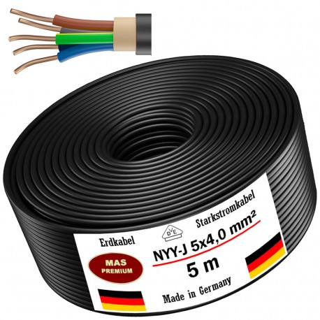 NYY-J 5x4 mm² Ground cable Power cable 5, 10, 20, 25, 30, 40 or 50m electrical cable, black
