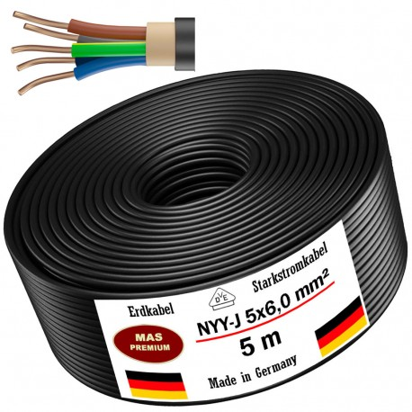 NYY-J 5x6 mm² Ground cable Power cable 5, 10, 20, 25, 30 or 50m electrical cable