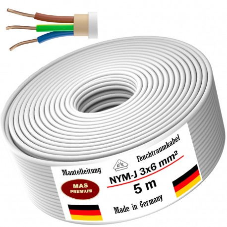 NYM-J 3x6 mm² Moisture-proof cable Power cable Sheathed cable 5, 10, 20, 25 oder 50 m electrical cable