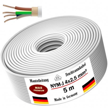 NYM-J 4x2.5 mm² Moisture-proof cable Power cable Sheathed cable 5, 10, 20, 25, 50 or 100m electrical cable